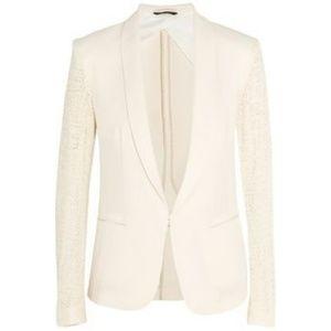 Rag & Bone Lace Sleeve Crepe Tuxedo Jacket